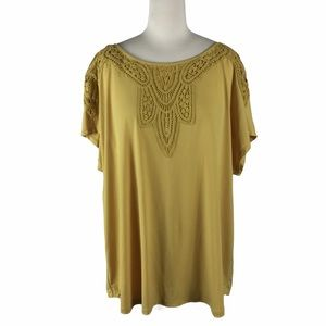 Chelsea & Theodore Gold Top, 1X, crocheted details